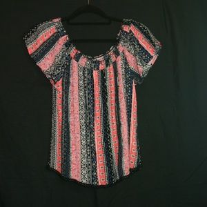 Juniors Multi colored large blouse, off- shoulder